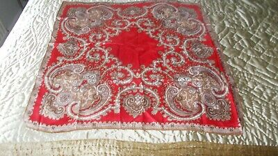 vintage satin foulard scarf still with original label. paisley design red brown.