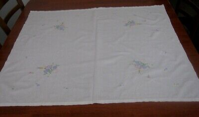 Vintage Hand Embroidered Supper Cloth ~ White/Pastel Flowers ~ Cotton ~ Square