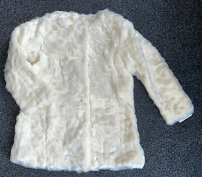 Girls Cream Faux Fur Coat Jacket Aged  3-4 Years BNWT