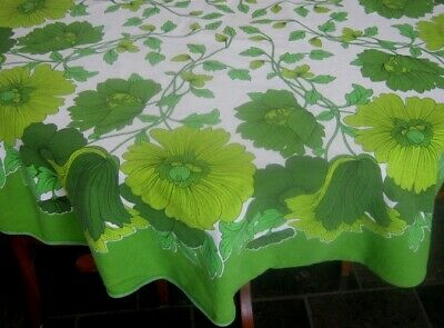 Vintage Tablecloth ~ Lime Green Large Floral ~ Cotton ~ Round