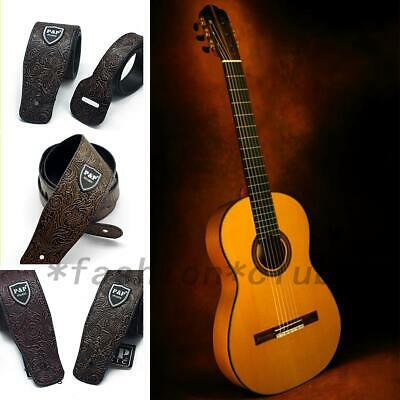 Guitar Strap For Acoustic Electric Bass Adjustable PU Strap Engraved Portable