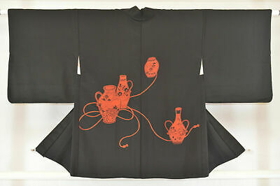 Vintage Japanese Ladies' Black Kimono Haori Wedding Jacket 'Orange Vases' 8-12