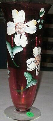 cranberry glass hand painted vintage vase footed antique crystal flower art 1