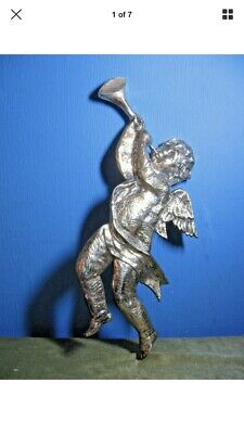 Large Solid Brass Wall Hanging Cherub With Horn.