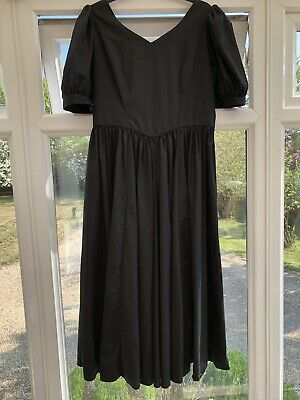 BEAUTIFUL VINTAGE LAURA ASHLEY 80'-90's BLACK COTTON BALLGOWN SIZE 18 (16 14)