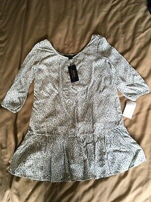 Girls Ralph Lauren Polo blue flowery dress. age 7. new with tags. 3/4 sleeve