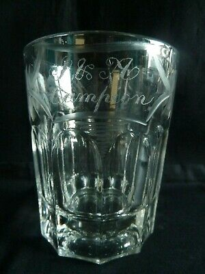 Stunning Large Victorian Etched Whisky Glass Tumbler Cut Glass J & A Campion