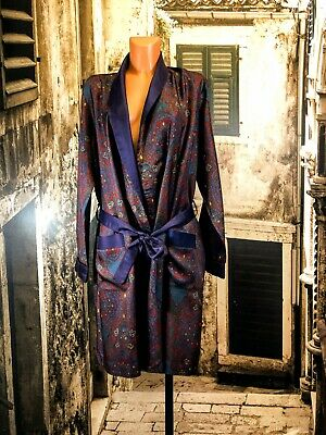 "Vtg St Michael multi tricel smoking jacket dressing gown robe up to 42"" R17336"