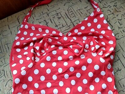 BLOOMING MARVELOUS - Halterneck Tankini. Size 10 Red & White Polka Dots.