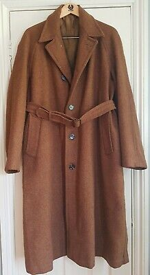 1940's mens  brown wool belted  overcoat CC41 42-44 chest