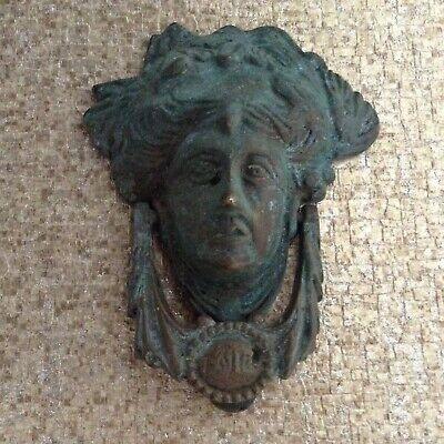 Vintage  Reclaimed Brass Verdigris Greek Goddess Head Door Knocker Fantastic!!