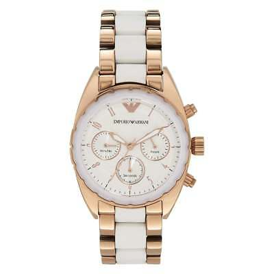 Armani White & Rose Gold Stainless Steel Chronograph Ladies Watch - AR5942
