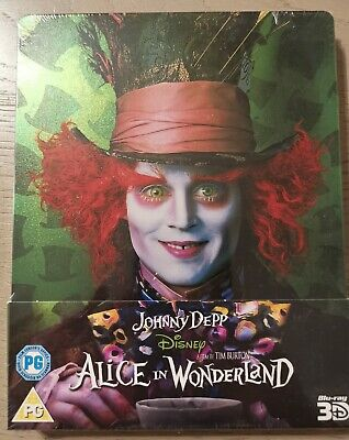 Alice In Wonderland 2D/3D Steelbook Blu Ray Audio ITA Su entrambi Sigillata