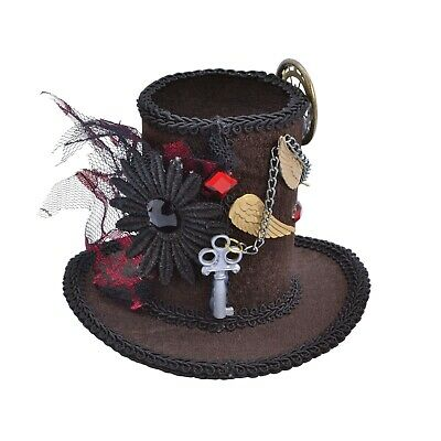 Ladies Mini Steampunk Tall Top Hat with Hair Clip  (BH612)