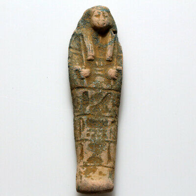 Circa 1000-500 BC Egyptian Colored Faience Shabti Statue