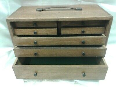 7 Drawer Oak Engineers Tool Box Chest Collectors Wooden