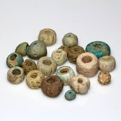 Top Lot Of 20 Ancient Egyptian Faience Colored Beads Circa 2500-1900 Bc