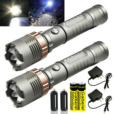Tactical 90000LM T6 LED 18650 Zoomable Super Bright Flashlight Torch+Charger US
