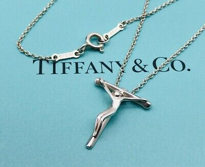 """Authentic Tiffany & Co. Necklace Cross Crucifix Pendant Sterling Silver 16"""" N11"""