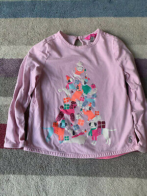 Joules Girls Pink Christmas / Winter Top Age 4 Years