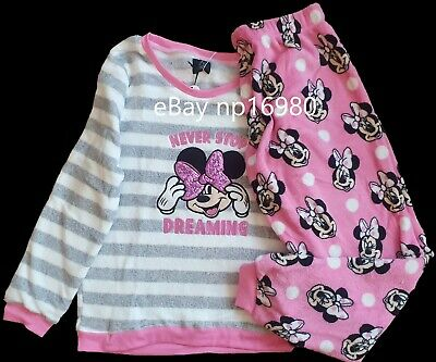 Disney Minnie Mouse Pink Fleece Pyjamas Women Girls Fleece PJs Primark XMAS 16