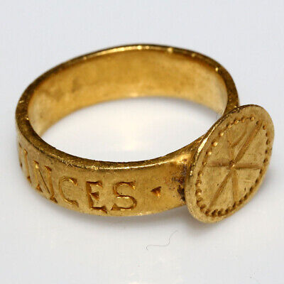 Extremely Rare-Late Roman Early Byzantine Gold Ring With Inscriptions Around & C