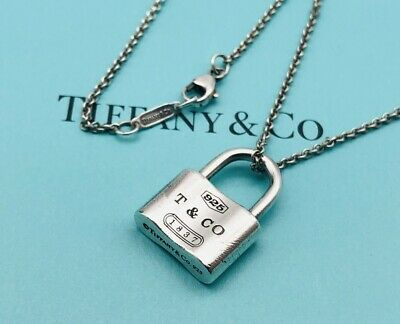 "Tiffany & Co. Necklace 1837 Padlock Lock pendant Sterling Silver 16"" N08"