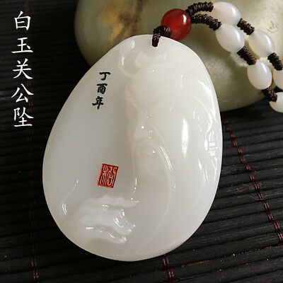 China handcarved 100% natural Nephrite hetian jade GUAN GONG pendant+Necklace