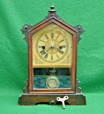 SMALL VICTORIAN STRIKING MANTEL CLOCK by H.A.C. WURTTEMBERG  GOOD WORKING ORDER