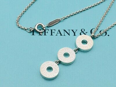 """Auth Tiffany & Co. Necklace 1837  3 Circle Disc Drop Sterling Silver 16"""" N24"""