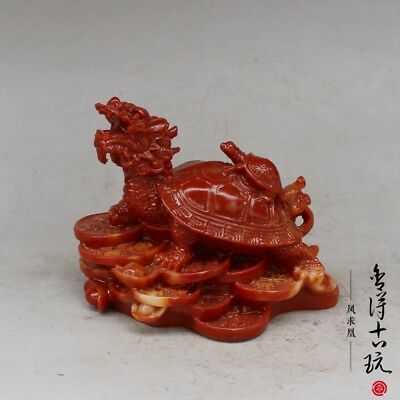 "4.3/"" China hand-carved shoushan stone dragon seal statue Sculpture"