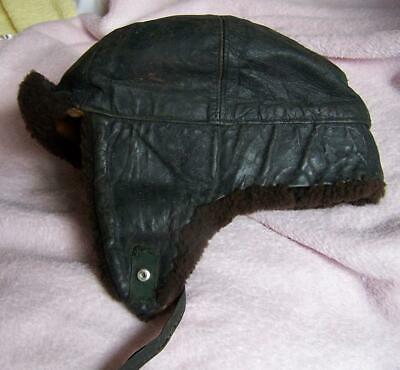 Vintage Leather & Wool Flying Cap.