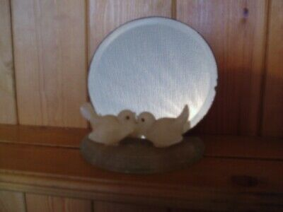 Antique/Vintage Art Deco Carved Marble Love Birds With Small Mirror