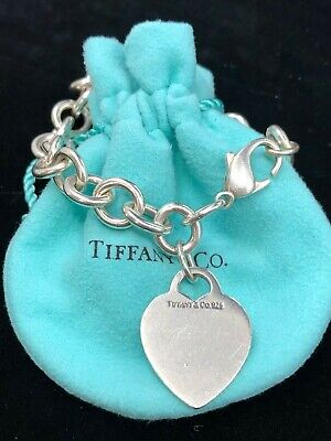 TC121 Tiffany & Co. Heart Tag Charm Bracelet Chain 925 Sterling Silver Authentic