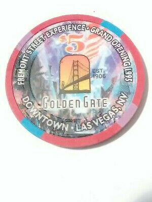 1995 Golden Gate Casino Las Vegas, Nv. $5.00 Gaming Chip Great For Collection!