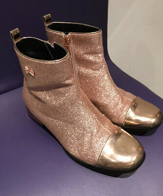 Girls TED BAKER Rose Gold Sparkly Glitter Party Glam Ankle Boots Size UK 4