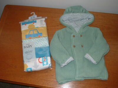 Bnwt M & S Baby Boy 5 Pack Long Sleeved Vests & Knitted Ears Cardigan 6 - 9 Mths