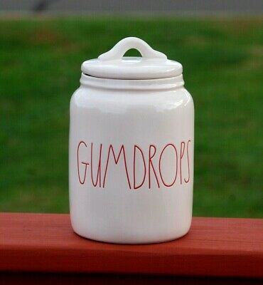 "Rae Dunn by Magenta L/L  ""GUMDROPS"" Baby Holiday Canister Red Letters VHTF Rare"