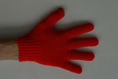 2 x Pairs of Girls / Boys Stretchy Magic Gloves Red One Size Made in Japan