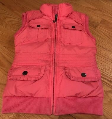 Juicy Couture Girls Kids Children Down Filled Vest. Jacket. Pink. Size 7.