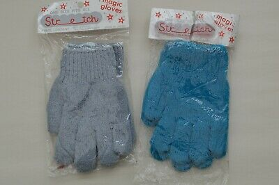 2 x Pairs of Girls / Boys Stretchy Magic Gloves Grey & Blue One Size Made Japan