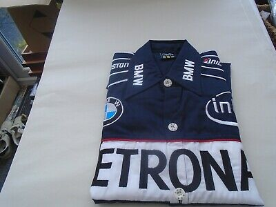 Awesome BMW Sauber F1 motor racing short sleeved shirt with badges  SIZE MEDIUM
