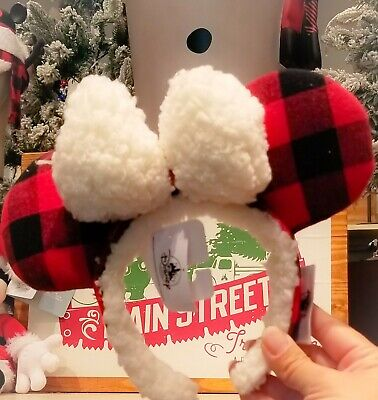 Disney Parks 2019 Christmas Red Plaid Fuzzy Flannel Minnie Ear Headband