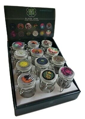 2.4 oz Small Glass Jars With Air-Tight Lids, Glass Herb Spice Jars Smell Proof