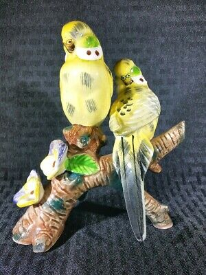 Vintage Bird Fiqurine A pair of Yellow Parkeets on a branch Thames Japan 1960's