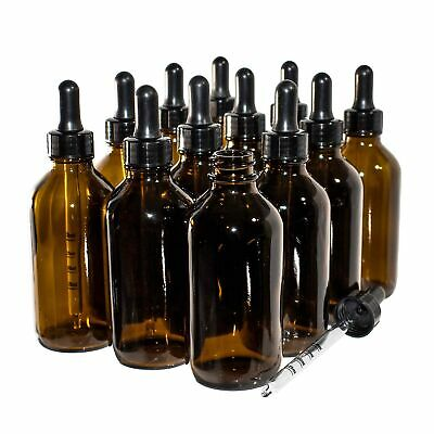 (12 Pack) 4 oz. Amber Boston Round with Black Graduated Glass Dropper