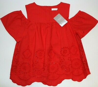 Next - Red Floral Embroidered Cotton Open Shoulder Blouse Top - Girls 7 Years