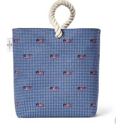 Vineyard Vines Wine Tote NWT Flag Whale Gingham Bag Purse Blue White Cotton
