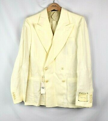 $1190 NWT RRL Linen Suit Jacket  Blazer Italy 38R Unlined Ivory Double Breasted