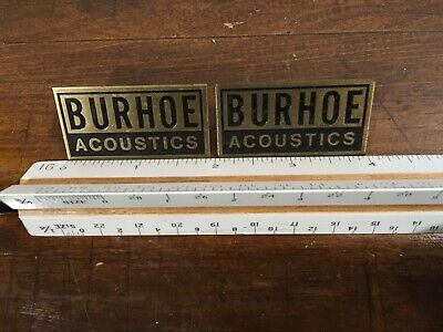 BURHOE ACOUSTICS ORIGINAL BRASS NAME Name Plates FROM Green's PAIR